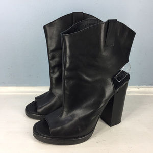 Zara Woman 37 7 Black Leather Ankle Boots Peep Toe